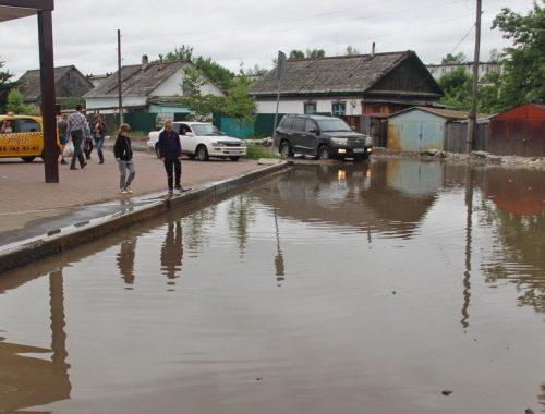 Власти Биробиджана «победили» лужу на улице Озёрной