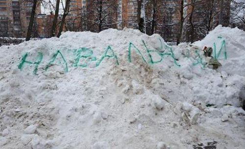 Москвичка добилась уборки снега, написав «Навальный» на сугробах