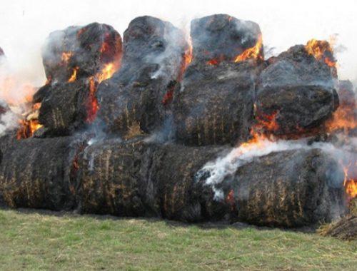 Неизвестные злоумышленники подожгли стог сена возле частного дома в с. Пашково