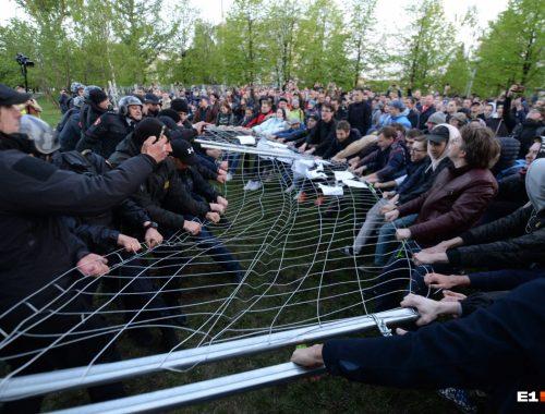 В Екатеринбурге задержали участников акции протеста против строительства храма