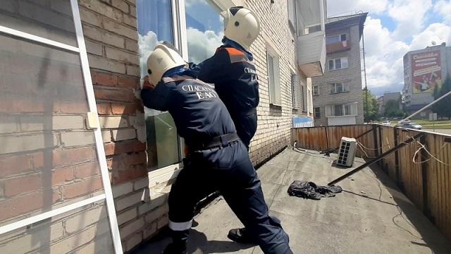 Для спасения маленьких детей сотрудникам МЧС ЕАО пришлось вскрыть балкон