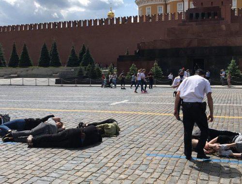 На Красной площади задержали активистов, выложивших телами «2036»