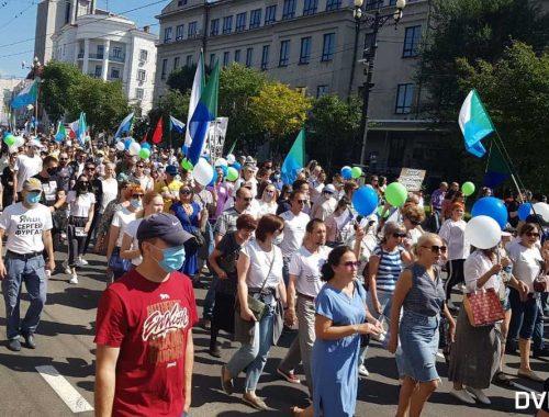 «Похоронили честные выборы»: девятая субботняя манифестация в поддержку Фургала прошла в Хабаровске