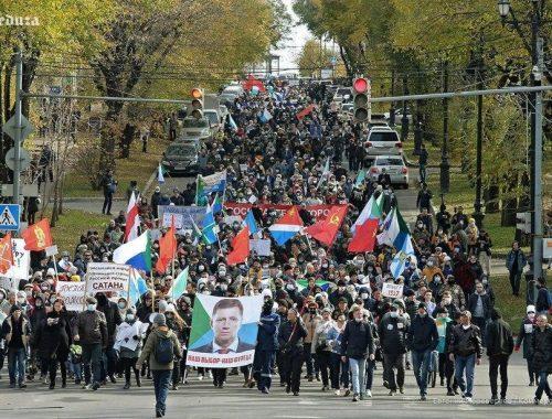 Хабаровчане вышли на 99-й митинг в поддержку Фургала