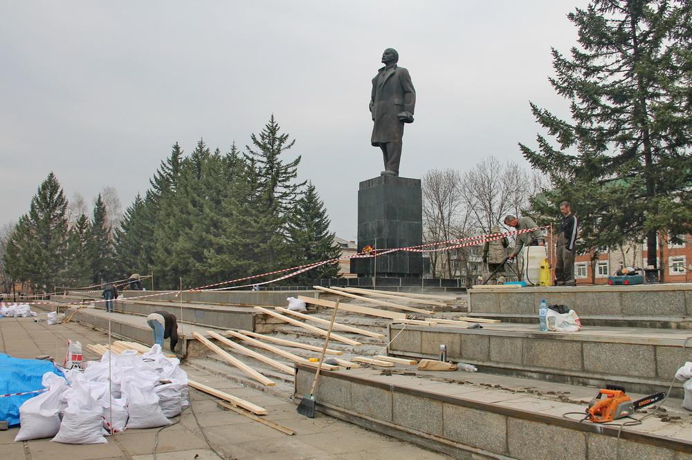 После публикации «Набата» в Биробиджане начали ремонт территории вокруг памятника В.И. Ленину